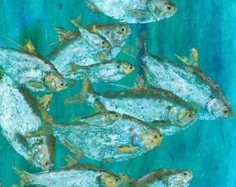 "Shad - ""Dock Light"" - Gyotaku Fish Rubbing - Limited Edition Print (21 x 33)"