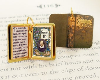 Sonnet 116 by William Shakespeare - Miniature Book Shaped Charm Pendant- for charm bracelet or necklace. Custom available!