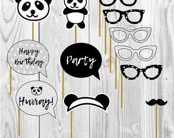 Panda happy birthday party props, bamboo party, party paper decoration, Birthday Party Package, printables, printing party decor, bear