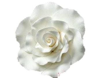 """3"""" White Formal Rose Flower - Set of 3 Gumpaste 101306"""