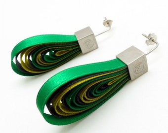 Big textile colorful earrings with silver
