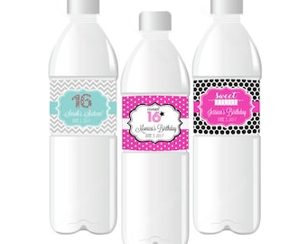 Sweet 16 Water Bottle Labels-Quinceanera Labels-Personalized Water Labels-Custom Sweet 16 Water Bottle Labels (set of 24)