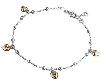 25cm Long with Five Rose Gold-Plated Hearts on Sterling Silver Chain