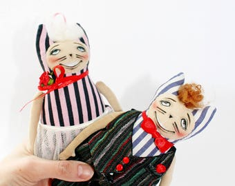 Fabric dolls Cats groom and bride Wedding dolls Wedding toy catsCloth dolls Wedding gift Decor for the wedding