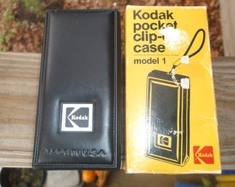 Antique, vintage, small camera holder, Kodak, clip on belt, made in USA, perfect for Tracfone or flip phone, never used, original packaging