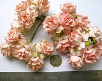 Paper flowers bulk etsy 20 light pink lovely jumbo mulberry roses paper flowers size 18inch45 mm bulk mightylinksfo