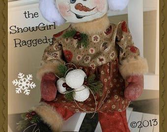 Primitive Snowman Ragdoll Frosty-ia the Snowman PDF Pattern Rag Doll Pattern Patterned Doll Patterns