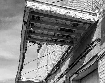 Flint Michigan photography, awning, black and white, beauty beyond blight, urban decay, urban exploration, matted photo