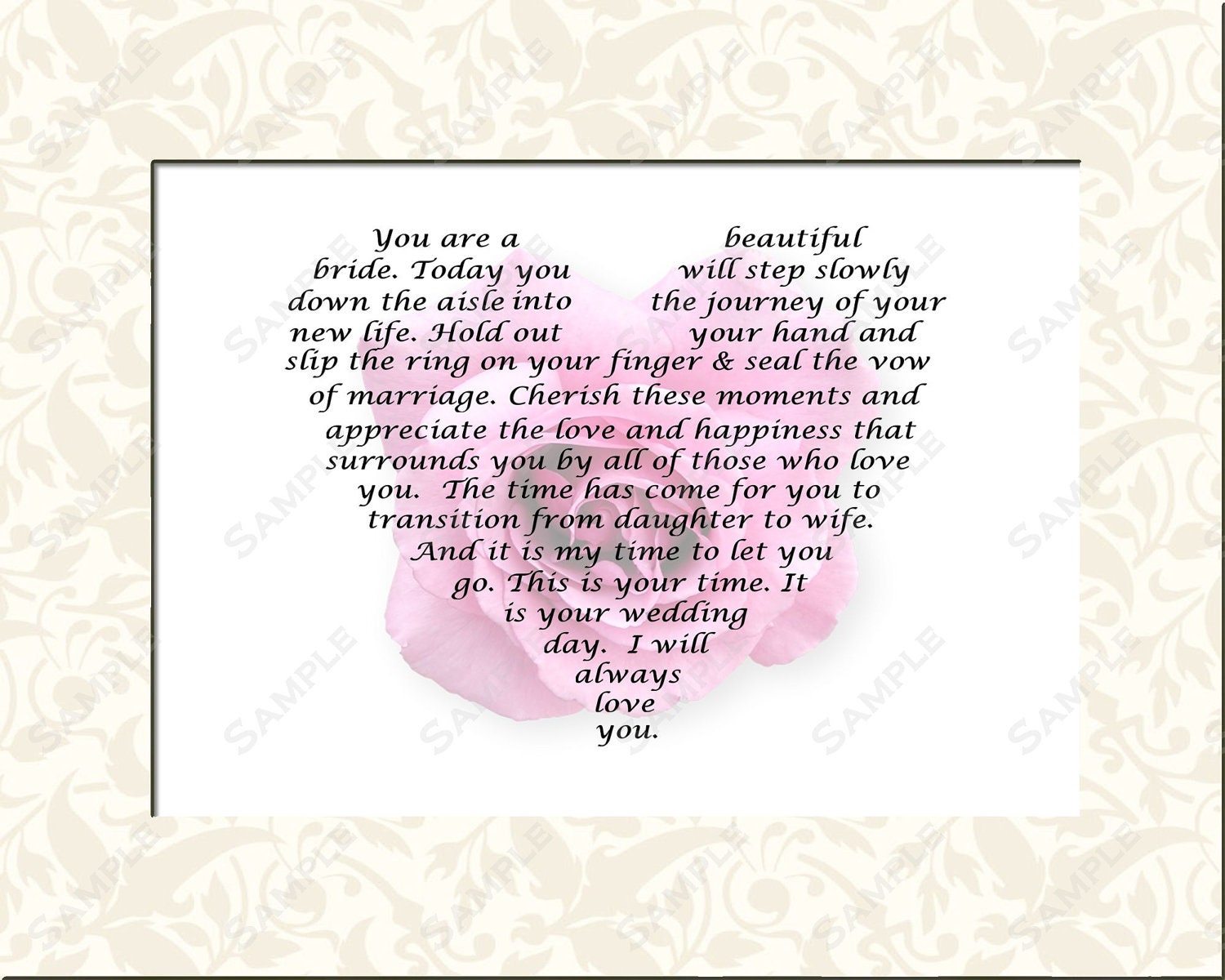 Standard Monetary Wedding Gift: Personalized Bridal Gift For Wedding Day Gift Poem From Mom Or