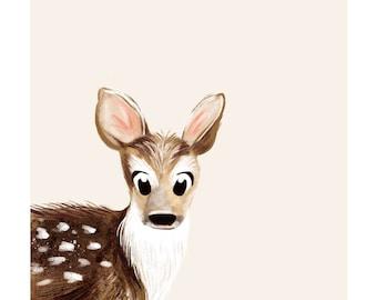 Baby Deer giclée print, Baby Animal Print, Baby Deer wall art, Nursery Art, Kids Wall Décor, Animal Painting, Deer Art, Deer Print