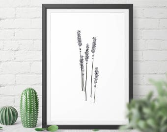Lavender Printable Wall Art, Minimalist Decor, Botanical Wall Art, Instant Download Wall Art