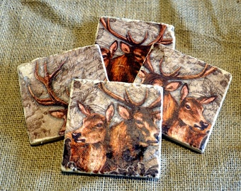 Stag and Doe Natural Stone Coaster
