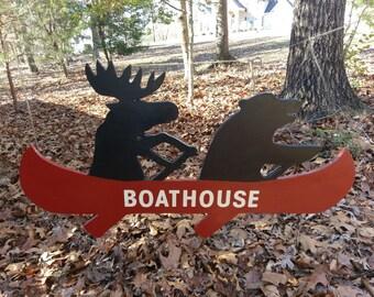 Cabin Bear and Moose on Canoe Cutout Large