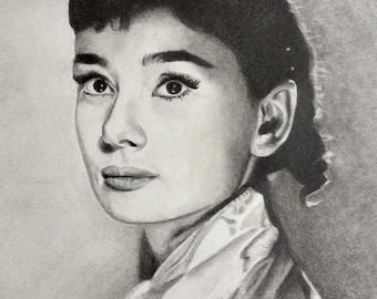 Original Pencil drawing of Audrey Hepburn, old hollywood, vintage, gift ideas, classic, movie star