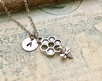 ON SALE - Honeycomb Necklace , Bee Necklace, Initial Necklace, Hand Stamped Necklace, Gift,  Friendship Necklace, Bee Charm