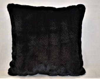 large faux mink throw pillow black white tan made in usa for sofa couch or bed