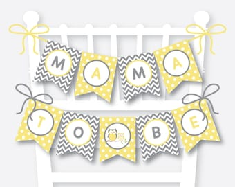Instant Download, Owl Chair Banner, Owl Baby Shower Banner, Mama To Be, Mom To Be Sign, Dad to Be Sign, Yellow Owl Baby Shower, Boy (SBS.45)