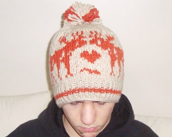 Adult animal hat deer hat hand knit mens or womens gifts for deer hunting lover gift for him her valentines day outfit