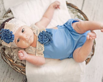 Blue Boho Baby Romper, Lace Headband, Bohemian, Toddler Romper, Baby Rompers, Summer Romper, Newborn Romper, Creeper, Bohemian, Lace