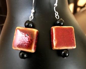 Red Rustic earrings