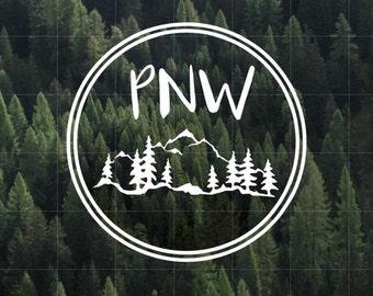 PNW Vinyl Decal   Pacific Northwest Vinyl Decal   Yeti Decal   Car Decal   Upper Left USA   Water Bottle Decal   PNW   Oregon   Idaho