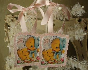 vintage easter gift tags paper ornaments party favor tags cute chicks pink glitter gift wrap package ties card scrap cute animals
