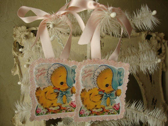 Vintage easter gift tags paper ornaments party favor tags cute negle Choice Image