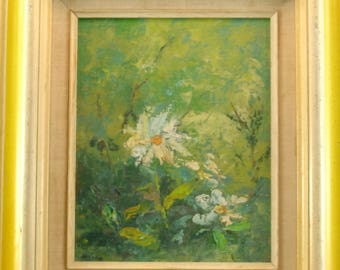 "Painting of Flowers Framed Canvas On Board Signed ""Helene"""