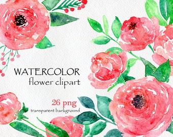 Watercolor flower clipart 14 purple and pink flowers watercolor flower clipart 26 purple red pink flowers aquarelle digital clip art mightylinksfo Image collections
