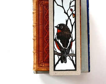 Hand Painted Linocut Bookmark - Red Robin
