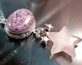 Rhodonite Stars Necklace Sterling Silver Celestial Pink & Black outer space chandelier OOAK jewelry