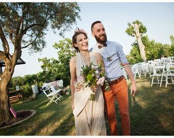 Boho wedding dress, lace wedding dress, lace maxi dress, bohemian wedding dress, halter neck wedding dress, champagne wedding dress, lace