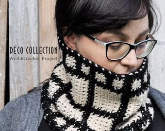 Scaldacollo, sciarpa ad anello, collo in alpaca, design geometrico, stile dèco