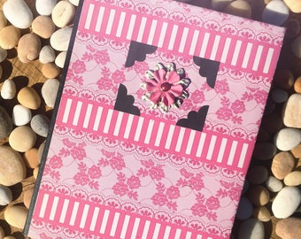 Girly Pink & Black Flower Altered Composition Notebook