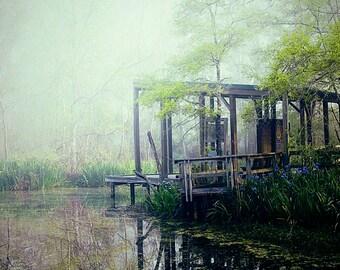 Texas Gulf Coast Photography, Foggy Bayou, Landscape Photography, Nature Photo, Texas Decor, Soft Colors, Fog Photography