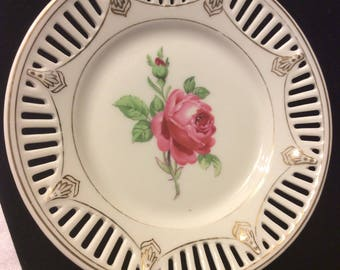 Reticulated Vintage Bavaria Porcelain Dish with Rose in Center