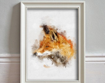 Red Fox WATERCOLOR Print: Red Fox Illustration Wildlife Print Wall Art Kitchen Decor Wildlife Poster - ART PRINT