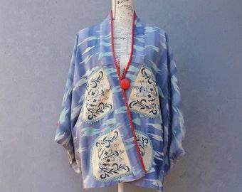 Kimono Jacket Vintage Embellished Japanese Chirimen Silk Jacket size medium/ large