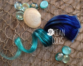 Blue hair, Turquoise Hair, Teal Hair, Ombre Hair Extensions, Hair extensions clip in, Human Hair Extensions, Festival hair, Mermaid Hair