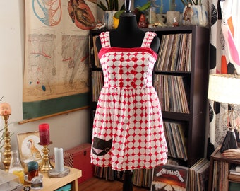 applique cat face dress, fit & flare red and white polka dot sundress . womens large xl