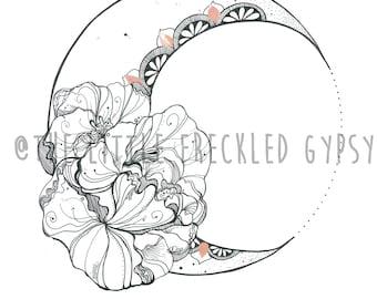 Crescent Delight Moon- Illustration Art Print