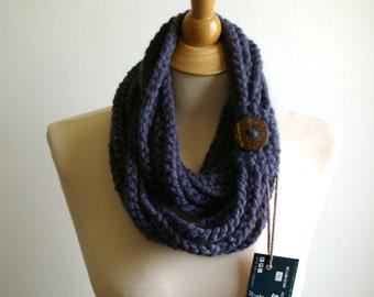 Infinity Scarf. Blue Scarf, Blue Infinity Scarf, Denim Blue, Dark Blue, Navy Blue Crochet Infinity Scarf, Cowl, with Big Wood Button