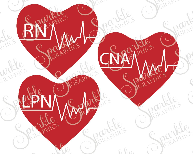 Nursing Heart Cut File CNA Svg RN Lpn Nurse
