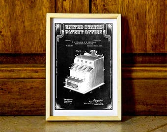 Cash Register Patent 1890 – Patent Print, Wall Decor, Vintage Cash Register, Ice Cream Parlor, Cash Register, Old Register