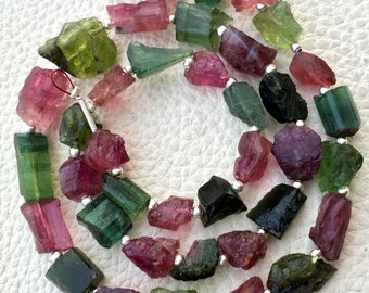 Brand New,Rare Brand New, Amazing Natural AFRICAN Multi Tourmaline Hammered Rock Nuggets Full Drilled ,8-10mm,Full 8 Inch Strand.