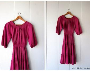 70s Fuchsia Pink Dress Vintage Peasant Dress Tiered Boho Dress Western Country Girl Grecian Dress Festival Bohemian 1970s Midi Womens Medium