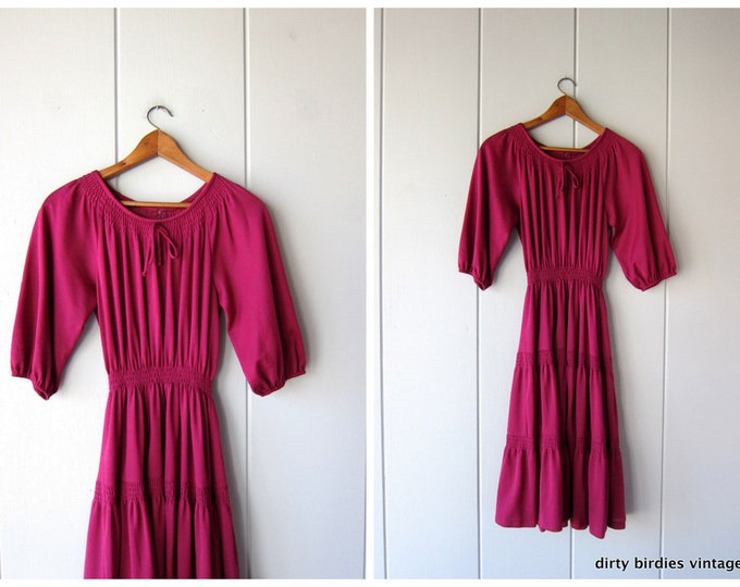 70s Fuchsia Pink Dress Vintage Peasant Dress Tiered Boho Dress Western Country Girl Grecian Dress Festival Bohemian 1970s Midi Womens Medium