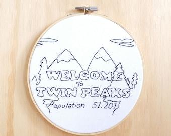 Twin Peaks Hand Embroidery Hoop Art, Wall Art, Decor, 90's