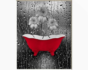 Red Gray Daisy Flowers Bathtub Wall Art, Red Bathroom Bedroom Modern Home Decor Picture