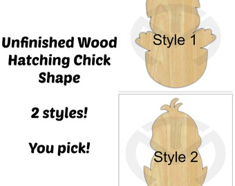 Unfinished Wood Hatching Chick Laser Cutout, Wreath Accent, Door Hanger, Ready to Paint & Personalize, Various Sizes, 2 styles